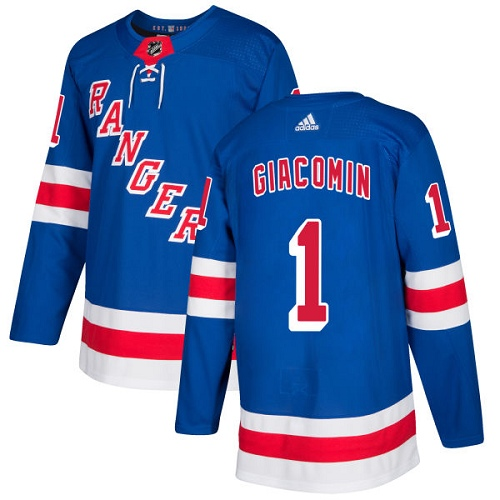 Men's Adidas New York Rangers #1 Eddie Giacomin Authentic Royal Blue Home NHL Jersey