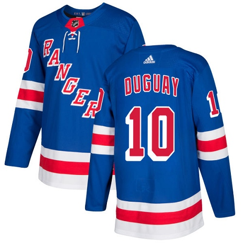 Men's Adidas New York Rangers #10 Ron Duguay Authentic Royal Blue Home NHL Jersey