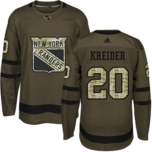 Men's Adidas New York Rangers #20 Chris Kreider Authentic Green Salute to Service NHL Jersey