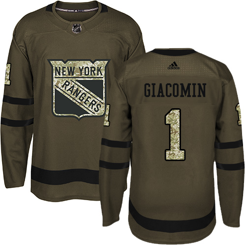 Men's Adidas New York Rangers #1 Eddie Giacomin Premier Green Salute to Service NHL Jersey
