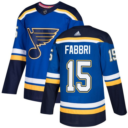 Men's Adidas St. Louis Blues #15 Robby Fabbri Authentic Royal Blue Home NHL Jersey