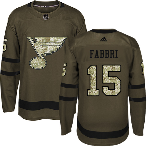 Men's Adidas St. Louis Blues #15 Robby Fabbri Authentic Green Salute to Service NHL Jersey