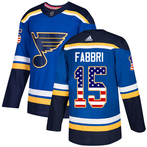 Men's Adidas St. Louis Blues #15 Robby Fabbri Authentic Blue USA Flag Fashion NHL Jersey