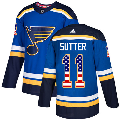 Men's Adidas St. Louis Blues #11 Brian Sutter Authentic Blue USA Flag Fashion NHL Jersey