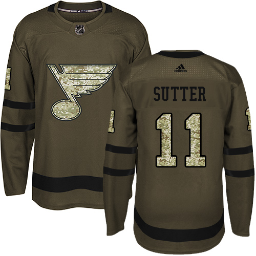 Men's Adidas St. Louis Blues #11 Brian Sutter Authentic Green Salute to Service NHL Jersey