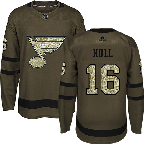 Men's Adidas St. Louis Blues #16 Brett Hull Authentic Green Salute to Service NHL Jersey