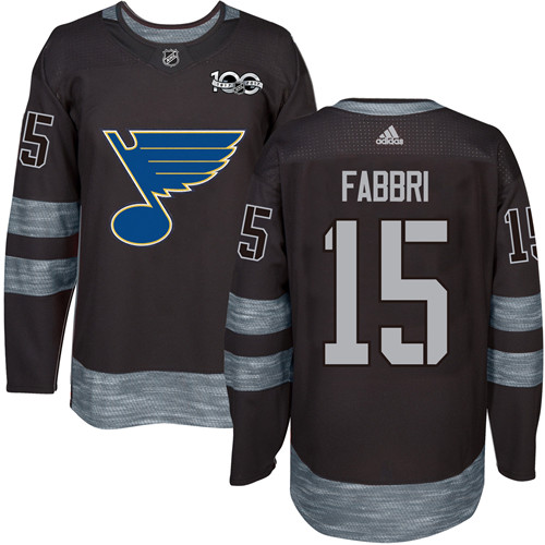Men's Adidas St. Louis Blues #15 Robby Fabbri Authentic Black 1917-2017 100th Anniversary NHL Jersey