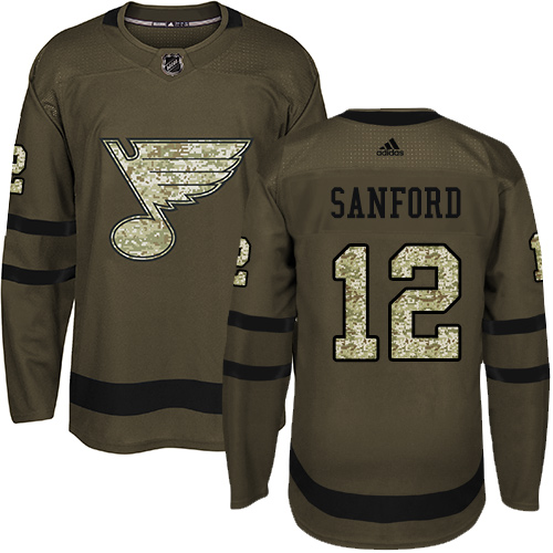 Men's Adidas St. Louis Blues #12 Zach Sanford Authentic Green Salute to Service NHL Jersey
