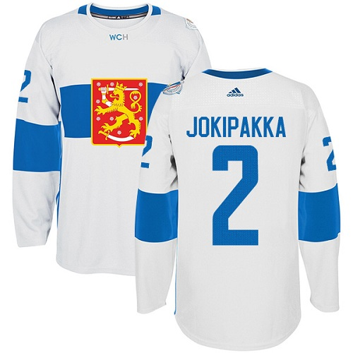 Men's Adidas Team Finland #2 Jyrki Jokipakka Premier White Home 2016 World Cup of Hockey Jersey