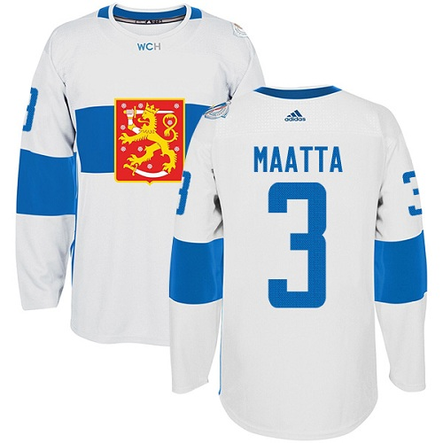 Men's Adidas Team Finland #3 Olli Maatta Authentic White Home 2016 World Cup of Hockey Jersey