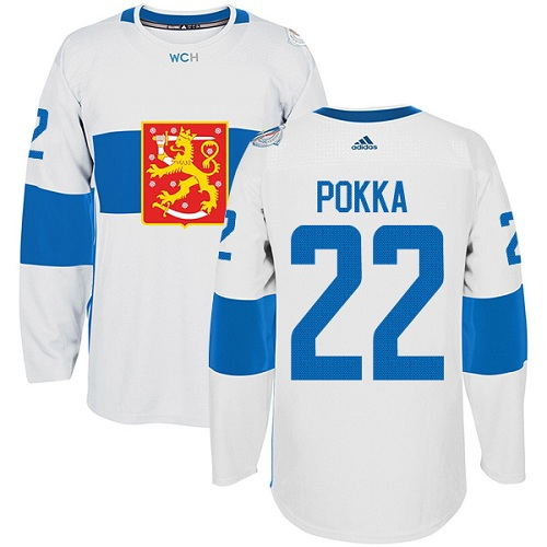 Men's Adidas Team Finland #22 Ville Pokka Premier White Home 2016 World Cup of Hockey Jersey