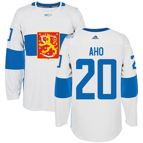 Men's Adidas Team Finland #20 Sebastian Aho Premier White Home 2016 World Cup of Hockey Jersey