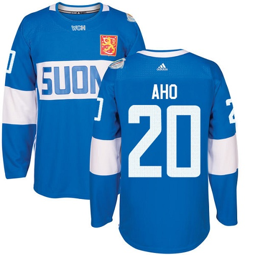 Men's Adidas Team Finland #20 Sebastian Aho Premier Blue Away 2016 World Cup of Hockey Jersey