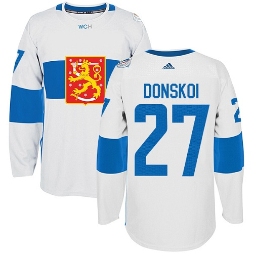 Men's Adidas Team Finland #27 Joonas Donskoi Authentic White Home 2016 World Cup of Hockey Jersey