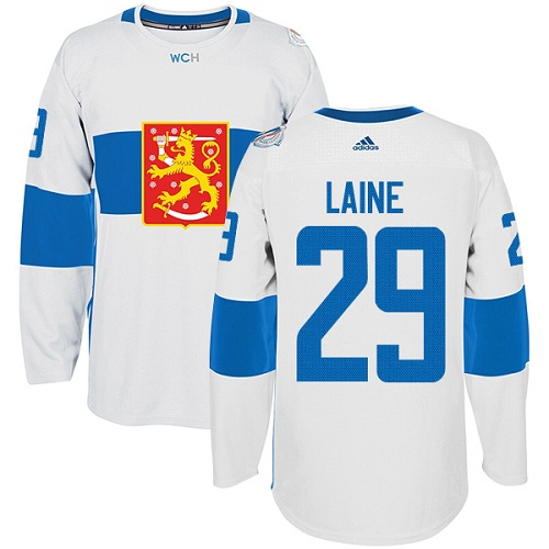 Men's Adidas Team Finland #29 Patrik Laine Authentic White Home 2016 World Cup of Hockey Jersey