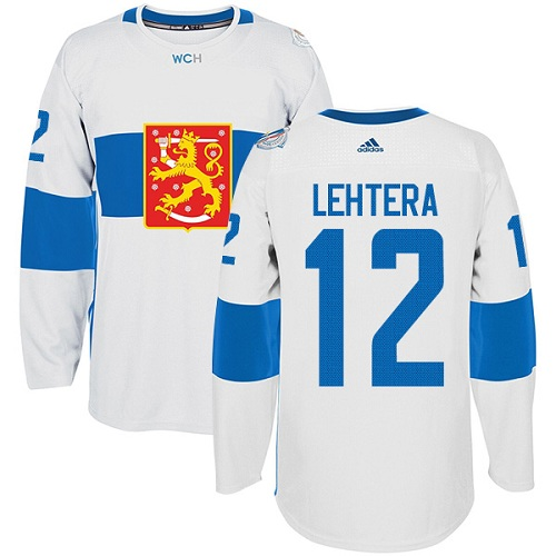 Men's Adidas Team Finland #12 Jori Lehtera Premier White Home 2016 World Cup of Hockey Jersey