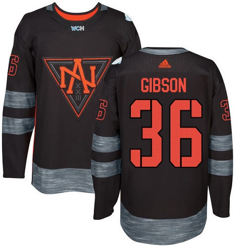Men's Adidas Team North America #36 John Gibson Premier Black Away 2016 World Cup of Hockey Jersey