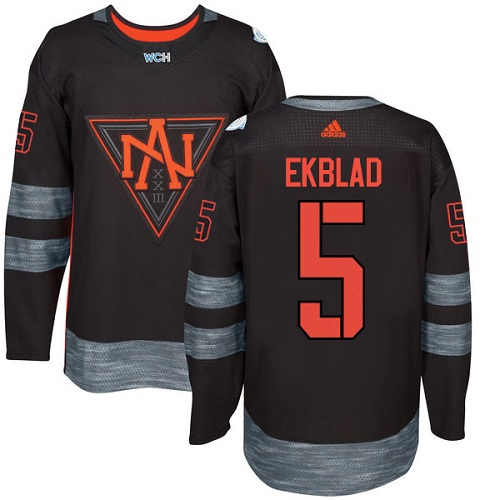 Men's Adidas Team North America #5 Aaron Ekblad Authentic Black Away 2016 World Cup of Hockey Jersey