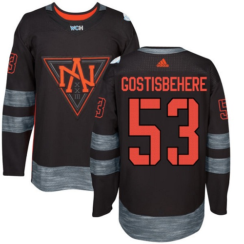 Men's Adidas Team North America #53 Shayne Gostisbehere Authentic Black Away 2016 World Cup of Hockey Jersey