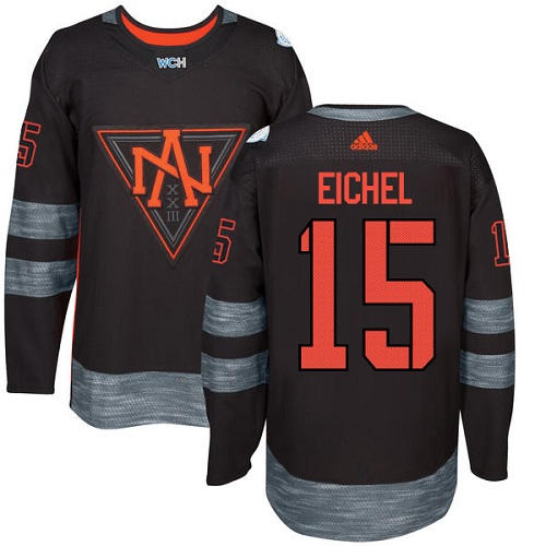 Men's Adidas Team North America #15 Jack Eichel Authentic Black Away 2016 World Cup of Hockey Jersey