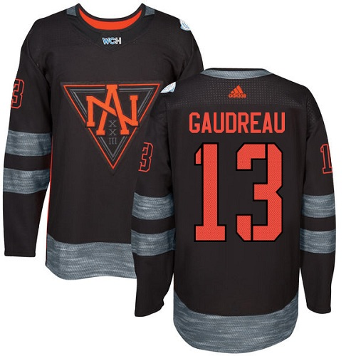 Men's Adidas Team North America #13 Johnny Gaudreau Premier Black Away 2016 World Cup of Hockey Jersey