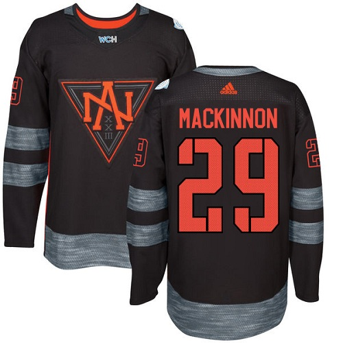 Men's Adidas Team North America #29 Nathan MacKinnon Authentic Black Away 2016 World Cup of Hockey Jersey
