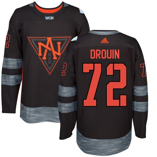 Men's Adidas Team North America #72 Jonathan Drouin Premier Black Away 2016 World Cup of Hockey Jersey