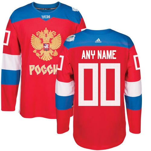 Men's Adidas Team Russia Customized Premier Red Away 2016 World Cup of Hockey Jersey