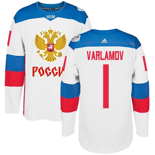 Men's Adidas Team Russia #1 Semyon Varlamov Authentic White Home 2016 World Cup of Hockey Jersey