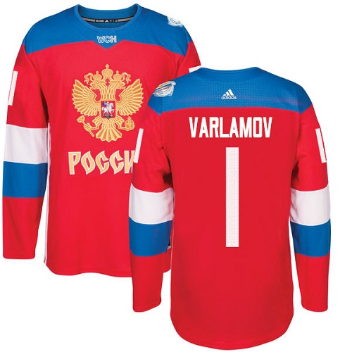 Men's Adidas Team Russia #1 Semyon Varlamov Authentic Red Away 2016 World Cup of Hockey Jersey