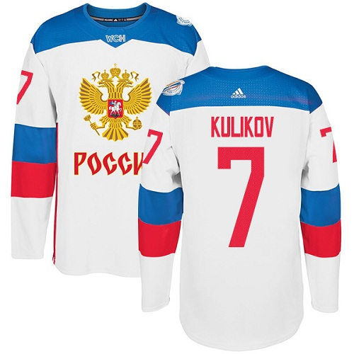Men's Adidas Team Russia #7 Dmitri Kulikov Authentic White Home 2016 World Cup of Hockey Jersey