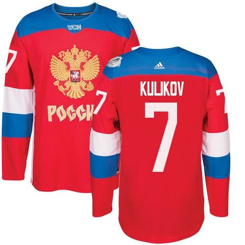Men's Adidas Team Russia #7 Dmitri Kulikov Authentic Red Away 2016 World Cup of Hockey Jersey