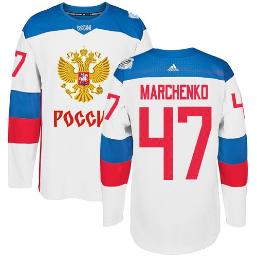 Men's Adidas Team Russia #47 Alexey Marchenko Authentic White Home 2016 World Cup of Hockey Jersey