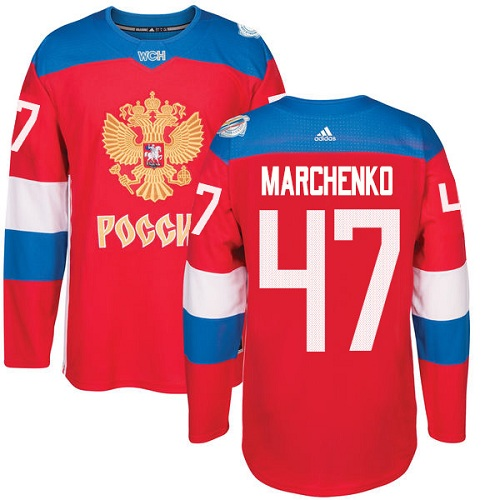 Men's Adidas Team Russia #47 Alexey Marchenko Premier Red Away 2016 World Cup of Hockey Jersey