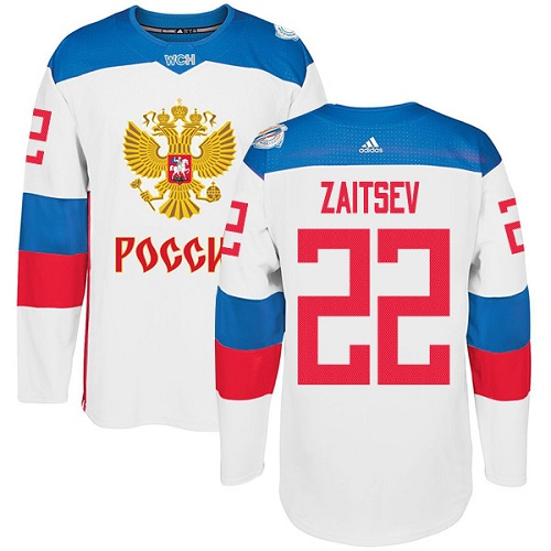 Men's Adidas Team Russia #22 Nikita Zaitsev Premier White Home 2016 World Cup of Hockey Jersey