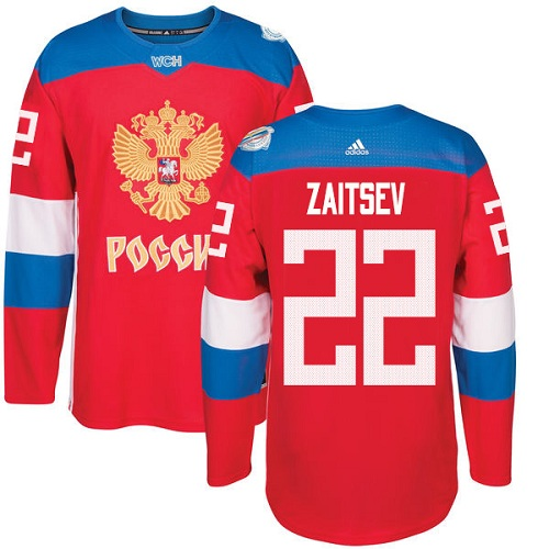 Men's Adidas Team Russia #22 Nikita Zaitsev Premier Red Away 2016 World Cup of Hockey Jersey