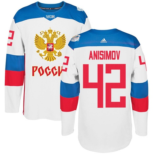 Men's Adidas Team Russia #42 Artem Anisimov Authentic White Home 2016 World Cup of Hockey Jersey