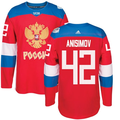 Men's Adidas Team Russia #42 Artem Anisimov Premier Red Away 2016 World Cup of Hockey Jersey