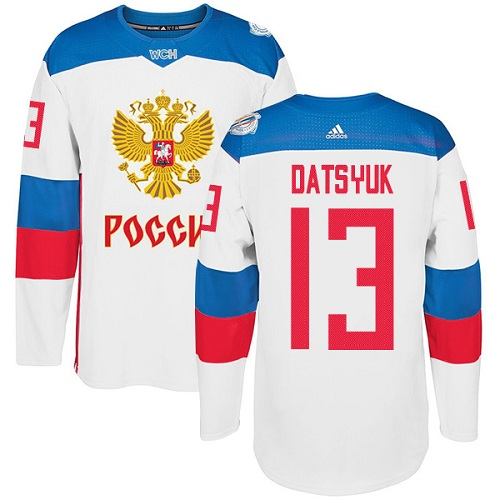 Men's Adidas Team Russia #13 Pavel Datsyuk Authentic White Home 2016 World Cup of Hockey Jersey