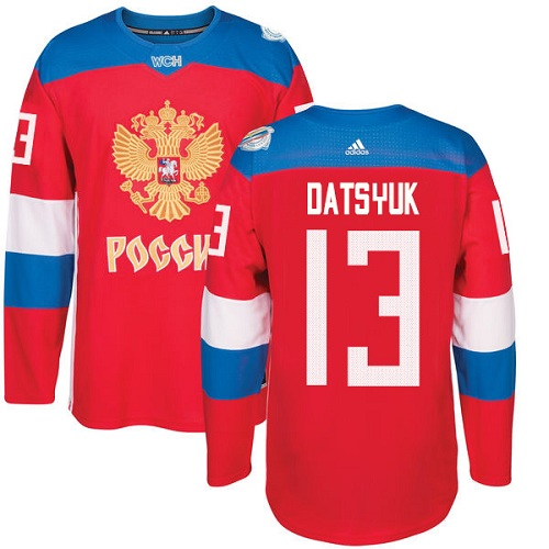 Men's Adidas Team Russia #13 Pavel Datsyuk Premier Red Away 2016 World Cup of Hockey Jersey