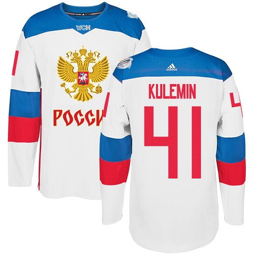 Men's Adidas Team Russia #41 Nikolay Kulemin Premier White Home 2016 World Cup of Hockey Jersey