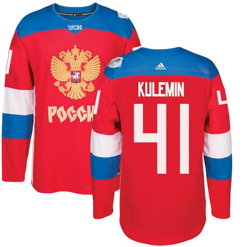 Men's Adidas Team Russia #41 Nikolay Kulemin Authentic Red Away 2016 World Cup of Hockey Jersey