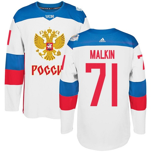Men's Adidas Team Russia #71 Evgeni Malkin Authentic White Home 2016 World Cup of Hockey Jersey