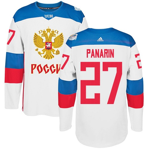 Men's Adidas Team Russia #27 Artemi Panarin Authentic White Home 2016 World Cup of Hockey Jersey