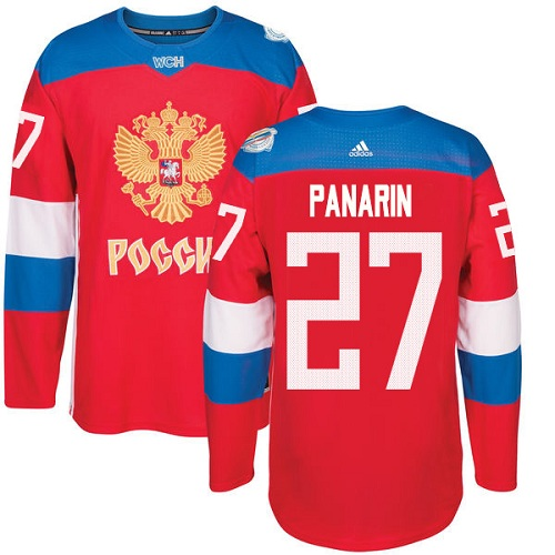 Men's Adidas Team Russia #27 Artemi Panarin Authentic Red Away 2016 World Cup of Hockey Jersey