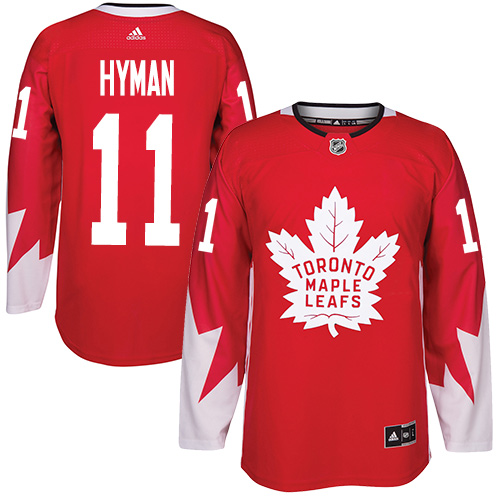 Men's Adidas Toronto Maple Leafs #11 Zach Hyman Authentic Red Alternate NHL Jersey