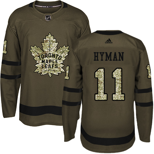 Men's Adidas Toronto Maple Leafs #11 Zach Hyman Authentic Green Salute to Service NHL Jersey