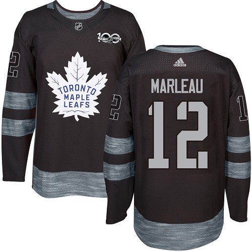 Men's Adidas Toronto Maple Leafs #12 Patrick Marleau Authentic Black 1917-2017 100th Anniversary NHL Jersey