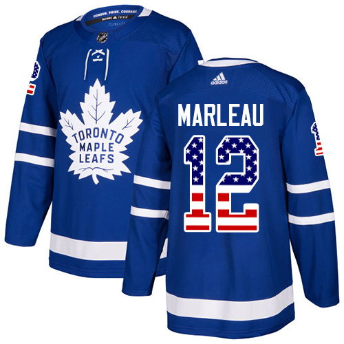 Men's Adidas Toronto Maple Leafs #12 Patrick Marleau Authentic Royal Blue USA Flag Fashion NHL Jersey