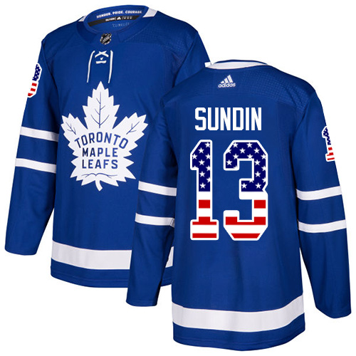 Men's Adidas Toronto Maple Leafs #13 Mats Sundin Authentic Royal Blue USA Flag Fashion NHL Jersey